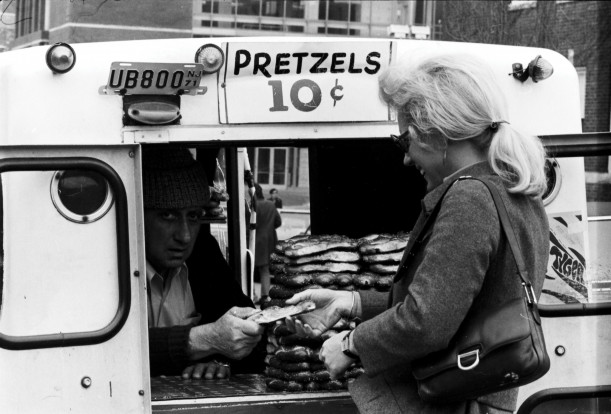 Carb port: A soft-pretzel vendor sells on Penn's campus circa 1970.Courtesy of the University of ...