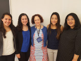 Kirsten Garza, Elizabeth Sieber, Eva Chau, and Sam Noblejas with Honorary Term Professor of Geron...