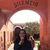 Julianna visiting a monastery in Arequipa, Peru