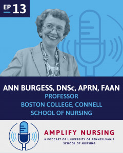 Photo of Ann Burgess with Amplify Nursing logo