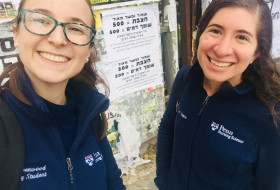 Penn Nursing seniors Liat Greenwood (left) and Naomi Shapiro created the black-and-white poster b...