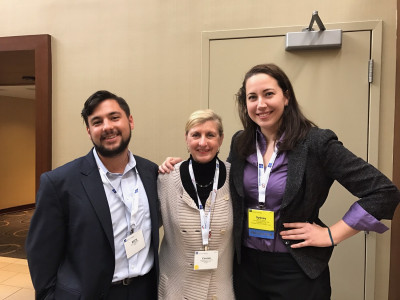 On October 6th, Penn Nursing students Sydney Axson (right), GR'12, NU'16, GR'20 and Nicholas Giordano (left), NU'15, GR'18 were joined by faculty mentor Dr. Connie Ulrich (center) at the annual ASBH conference in Washington DC. Their podium presentation shared preliminary findings from their Office of Nursing Research Student Pilot grant funded study'Evaluating nurse understanding & participation in the informed consent process'. Sydney and Nick continue to work on data analysis and expect to complete their project by the end of 2016.