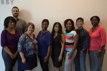 <p><strong>Committee members from left to right include</strong>: Dr. Margo Brooks-Carthon, Heather Kelley, Lisa Lewis, Rosario Jaime-Lara, LaShauna Connell, Ian Jeong, Monica Harmon (Committee Co-Chair)</p> <p><strong>Committee member in the back</strong>: Dr. Bart De Jonghe </p> <p><strong>Committee members not present</strong>: Gina Conway (Committee Co-Chair) and Carol Ladden</p>