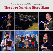Story slam flyer with images from the 2019 event