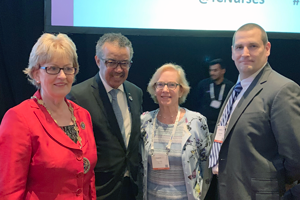 L-R: ICN President, Annette Kennedy; WHO Director General, Dr. Tedros Adhanom Ghebreyesus; with D...