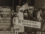 Suffrage envoys from San Francisco greeted in New Jersey on their way to Washington to present a ...