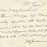 Student File, Letter of Support, Evelyn Barnum, Class of 1917, Frederick Douglass Memorial Hospital and Training School