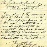 Student File, Letter of Support, Mildred Lillian Ennis, Class of 1919, Frederick Douglass Memorial Hospital and Training School