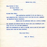 Student File, Correspondence, Lillian E. Welch, Class of 1917, Frederick Douglass Memorial Hospital and Training School