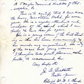 Student File, Letter of Support, Lillian E. Welch, Class of 1917, Frederick Douglass Memorial Hospital and Training School