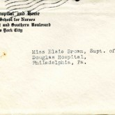 Student File, Addressed Envelope, Camilla Alberta Grant, Class of 1921, Frederick Douglass Memorial Hospital and Training School