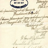 Student File, Correspondence, Camilla Alberta Grant, Class of 1921, Frederick Douglass Memorial Hospital and Training School