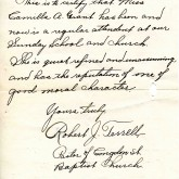 Student File, Letter of Support, Camilla Alberta Grant, Class of 1921, Frederick Douglass Memorial Hospital and Training School