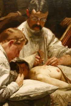 Close up of The Agnew Clinic <br/><br/><em>Surgeons performing a mastectomy on an unconscious woman.</em>