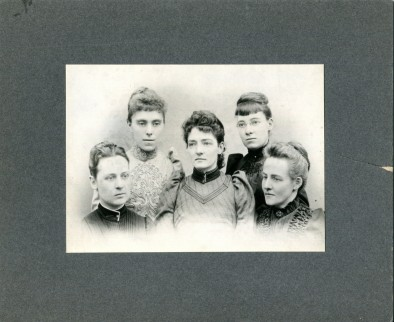 Hospital of the University of Pennsylvania (HUP) Nurse Training School Class Photo 1889.<br/><br/><em>Mary V. Clymer front left of photo. Clymer appears in</em> The Agnew Clinic<em> on the front right. </em>
