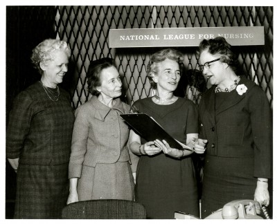 Four NLN Presidents during break at the meeting, January 1964 (L to R: Ruth Sleeper, Ruth Freeman, Lucile Leone, and Lois Austin).