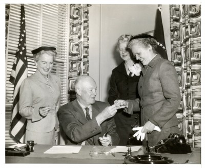 President Eisenhower with nurse leaders after signing proclamation for National Nurses Week, Oct 8, 1954 (L to R: Lucile Leone, Assistant Surgeon General, Agnes Ohlson, ANA President, and Ruth Sleeper, NLN President).