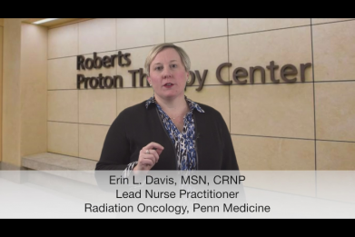 Erin Davis, MSN, CRNP delivers a filmed lecture on the principles of radiation therapy to online students.