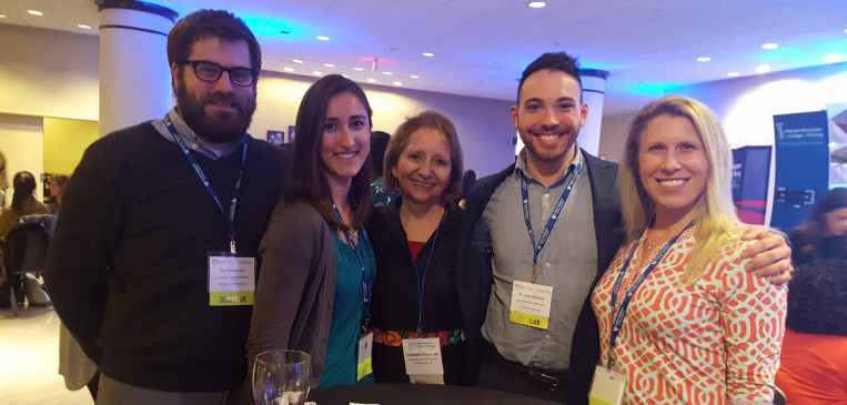 Doctoral students Guy Weissinger, Stefanie Zavodny, and Lauren Starr with Dean Villarruel at the Jonas Scholars Conference in Washington, DC