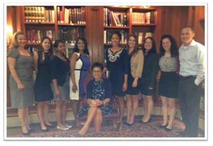 Wilhelmina Manzano, Chief Nursing Officer of New York-Presbyterian Hospital and Healthcare System,<br/>met with our students at the Penn Club to share her wisdom and insight into how to become the next generation of nurse leaders.