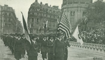 "July 4, 1918 celebration in Paris. A regiment of Red Cross nurses, the ""Army's Guardian..."