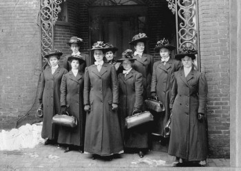 Visiting nurses outside their office, dressed for a day's work, Visiting Nurse Society of Philadelphia, c. 1909