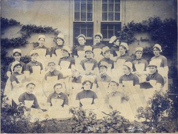 Philadelphia Hospital School of Nursing, first graduating class, 1886. Chief Nurse Alice Fisher is fourth from the right, second row from the bottom.