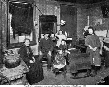 A family of seven in a one room apartment, Starr Centre Association of Philadelphia, c. 1910