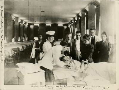 Patient at the Philadelphia Hospital (Philadelphia General Hospital) receiving eye treatment, 1902