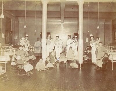 Nurses and patients at the Philadelphia General Hospital's Children's Hospital, 1904